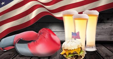 Composite image of focus on hamburger