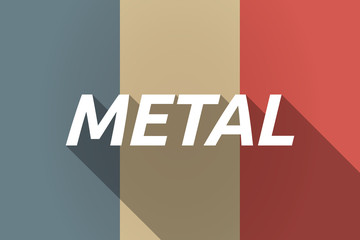 Vector long shadow France flag with    the text METAL