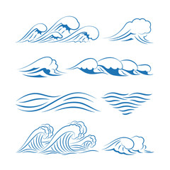 Sea waves vector. Ocean waves isolated on white background