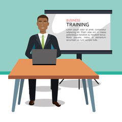 Businessman training process isolated icon design, vector illustration  graphic