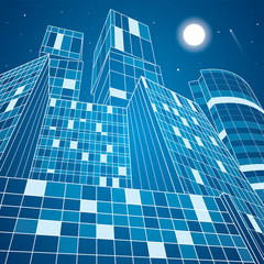 Business building, neon city, infrastructure illustration, architecture, airplane flying, vector design art