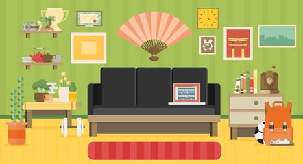 Home workplace flat vector design. Workspace for freelancer