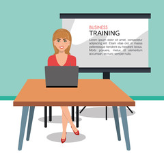 Business woman training process isolated icon design, vector illustration  graphic