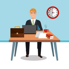 businessman in workspace isolated icon design, vector illustration  graphic