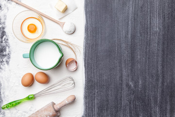 Baking and cooking concept, variety of ingredients and utensils