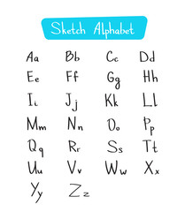 Alphabet Letters Collection Sketch Hand Drawn Set