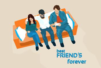 Friends Group Sit On Sofa Take Selfie Photo