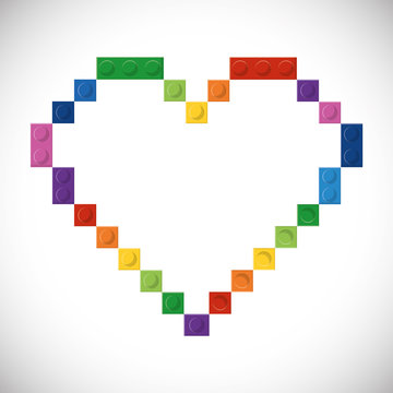 Lego concept represented by abstract heart design. Colorfull and flat illustration