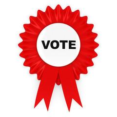 Red Vote Rosette Badge 3D Illustration