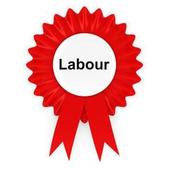 Labour Party Rosette Badge 3D Illustration
