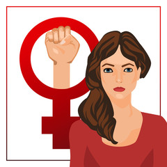 Vector illustration with woman and feminist sign