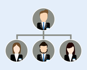 Business represented by Organization chart icon. flat and isolated illustration