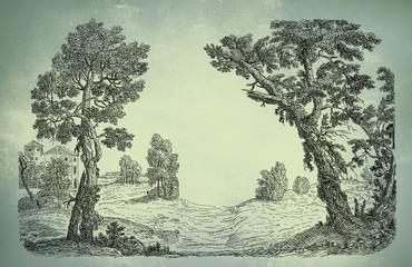 Old village art illustration