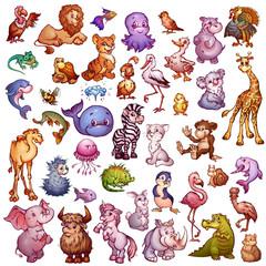 Vector set of cute animals for pets alphabet. Lion, rhino, giraffe and etc.