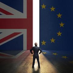 Portal in einer Wand mit UK- und EU-Flagge