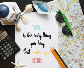 Travel inspiration quotу made on paper. Lettering design.