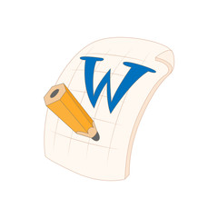 Word file icon in cartoon style