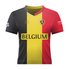 Soccer shirt in colors of belgian flag. National jersey for football team of Belgium. Qualitative vector illustration about soccer, sport game, football, championship, national team, gameplay, etc