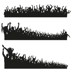 High Quality Cheering Crowd Silhouettes