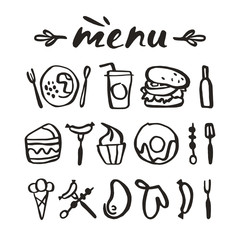 Food icons in hand-drawn style