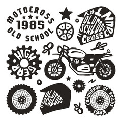 Motorcycling elements in hand-drawn style