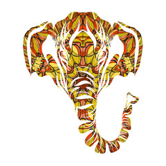Stylized colorful elephant portrait art on white background. Vector