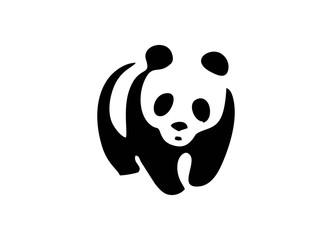 Panda Logo abstract design vector template Negative space style. Wild animal zoo Logotype bear concept icon.