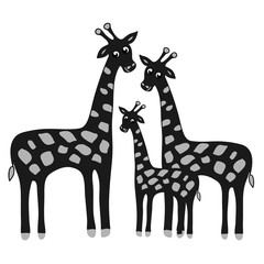 Happy family giraffe. Cute giraffes family illustration. Jungle animals with tropical plants print. Happy family concept - father, mother, baby.