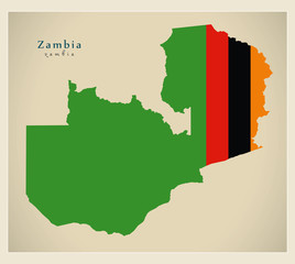 Modern Map - Zambia flag colored ZM