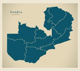 Modern Map - Zambia with provinces ZM