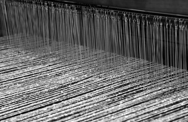 old loom for the production of the fabrics in the ancient textil