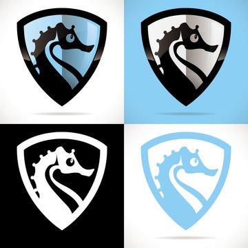 hippocampe logo club bébé nageur bleu