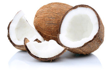 Kokosnuss Kokosnüsse Frucht geschnitten Stücke Früchte Freist
