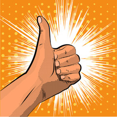Thumb up gesture like. finger halftone. Pop art style. Vector illustration