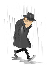 Rainy day and the man in low spirits. Sad man is walking on puddles under the rain