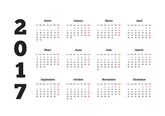 Simple calendar in spanish, isolated on white