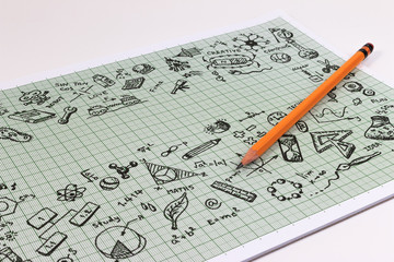 Education sketch design on notebook with copy space. Education concept thinking doodles icons set. School background of education icons set.
