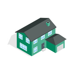 Two storey house with garage icon