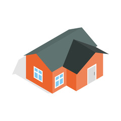 Orange house icon, isometric 3d style