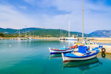 Traditional Greek fishing boats in port of Sami village on Kefalonia island, Greece
