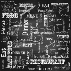 A set of food for the cafe, restaurant and fast food on the chalkboard.
