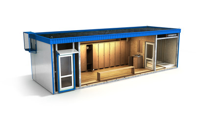 large container building for workers in a cut with an inner fill