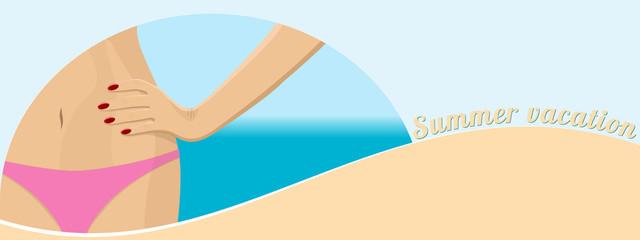 Beach banner. Summer sandy tropical beach. Poster vacation at sea. Female hip in a bikini.