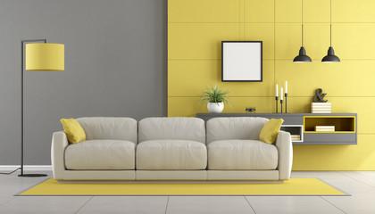 Gray and yellow modern lounge