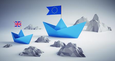 Papierschiffchen zwischen Felsen - Brexit