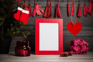 Toned photo. Photo frame and Christmas decoration