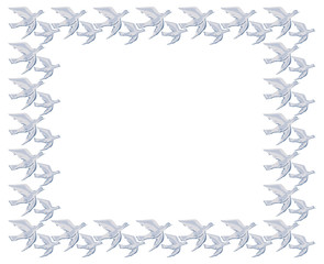 Frame with flying pigeons. Vector clip art.