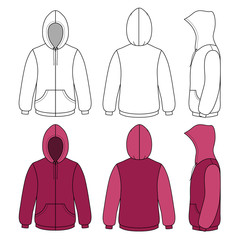 Unisex hoodie template (front, side & back outlined view)