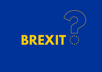 The EU stars form the lower part of a question mark on Brexit st