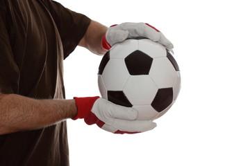 Fussballer mit braunem Shirt